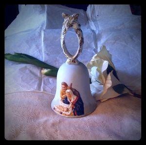 Vintage Roman RR Bisque Porcelain Christmas Bell